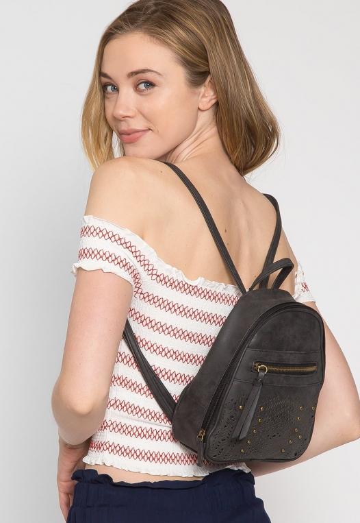 Studded Perforated Stud Mini Backpack alternate img #2