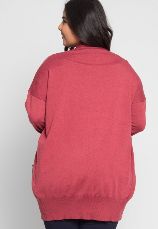 Plus Size Fireplace Cardigan in Burgundy alternate img #3