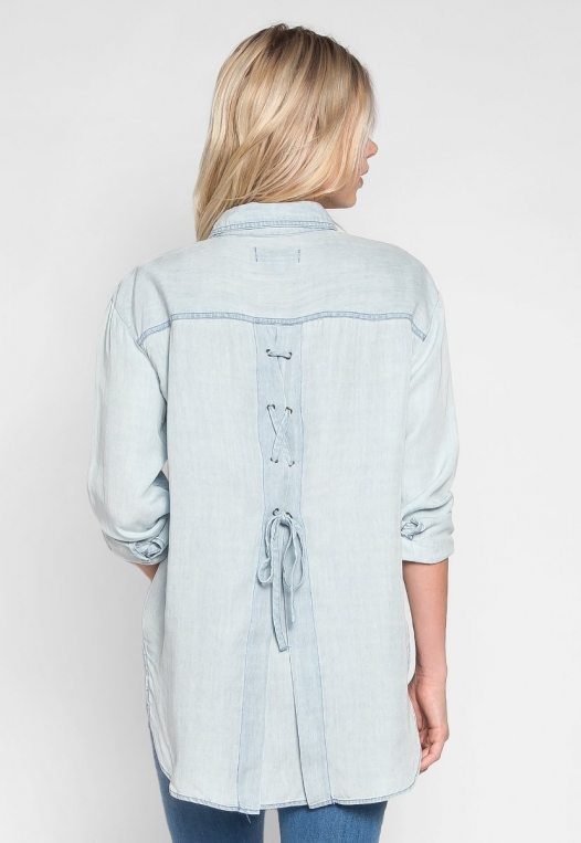 Rewind Lace Up Back Chambray Shirt alternate img #2