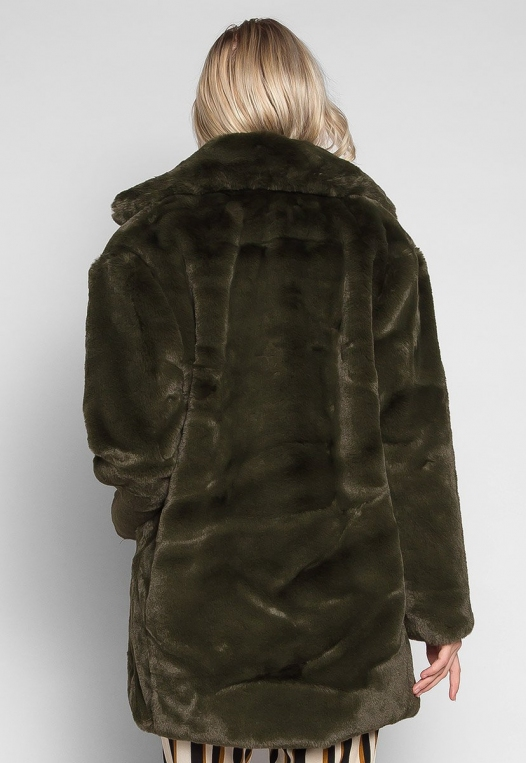 Loving Winter Faux Fur Coat in Green alternate img #2