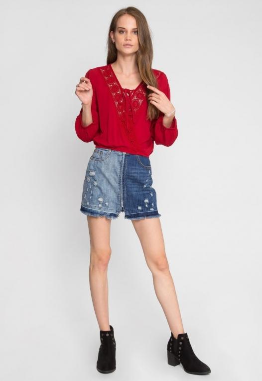 Whip It Distressed Denim Skirt alternate img #6
