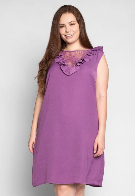 Plus Size Lavender Fields Ruffle Mini Dress in Purple alternate img #1
