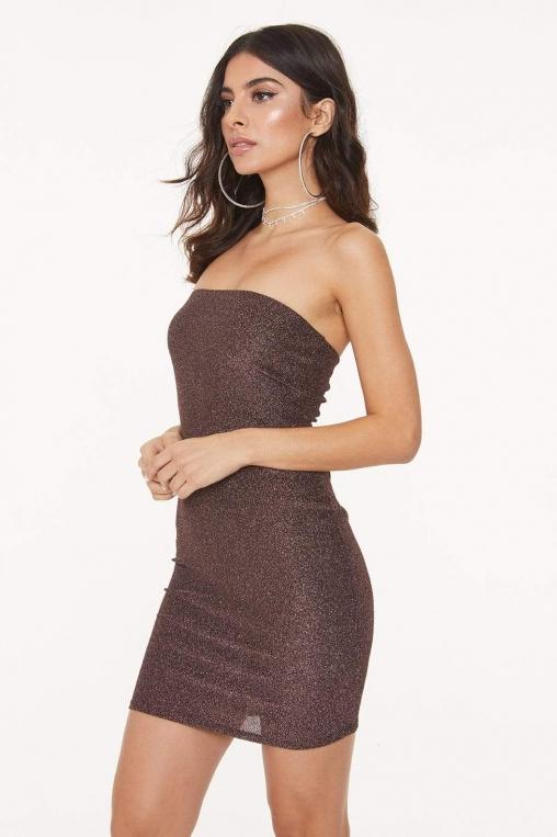 Strapless Glitter Bodycon Dress alternate img #3
