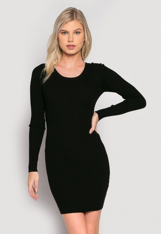 Risky Girl Ribbed Knit Dress in Black alternate img #1