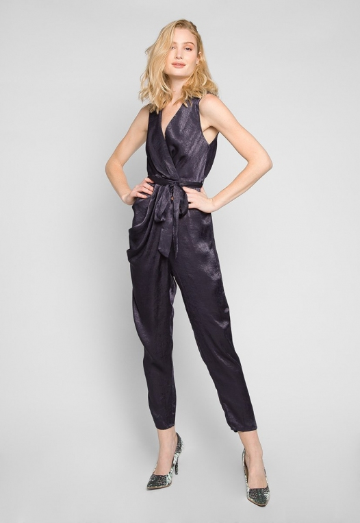 Young & Beautiful Wrap Belted Jumpsuit in Black alternate img #1