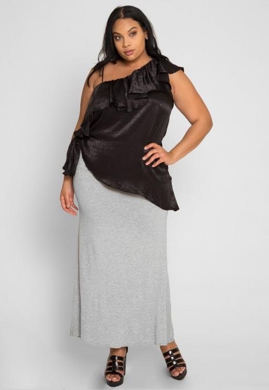 Plus Size Asymmetrical Satin Blouse in Black alternate img #4