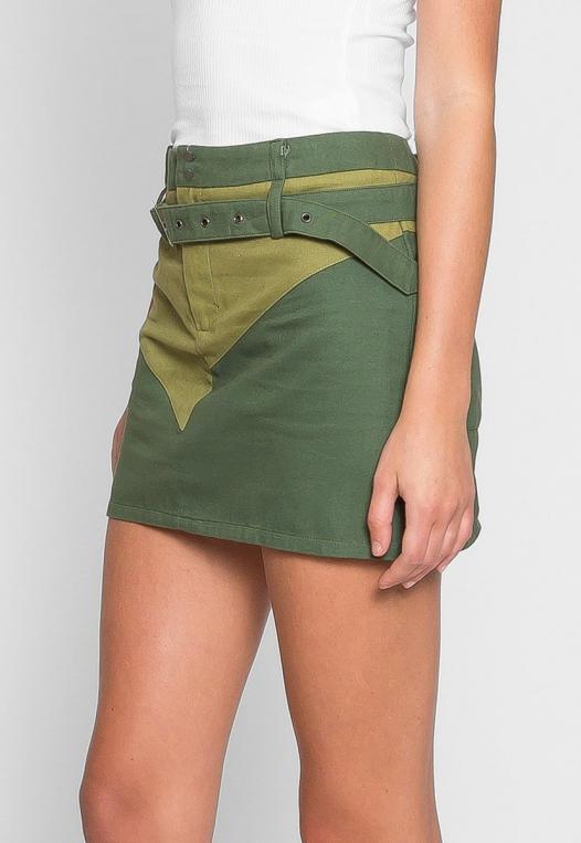 Colorblock Twill Mini Skirt alternate img #5