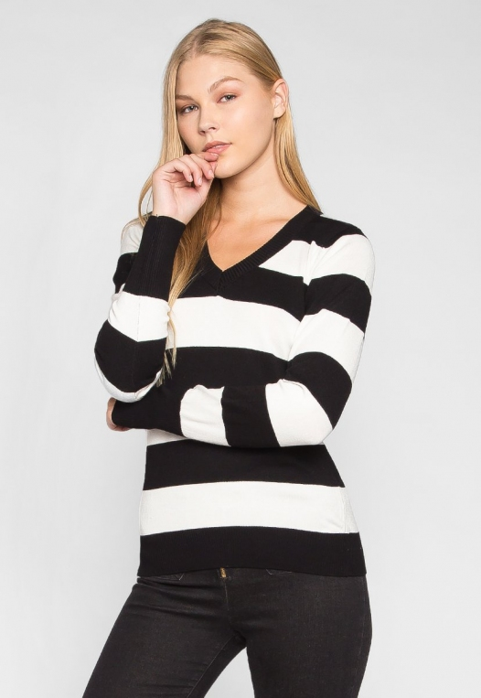 Be My Soulmate V-Neck Stripe Fitted Cardigan in Black alternate img #1