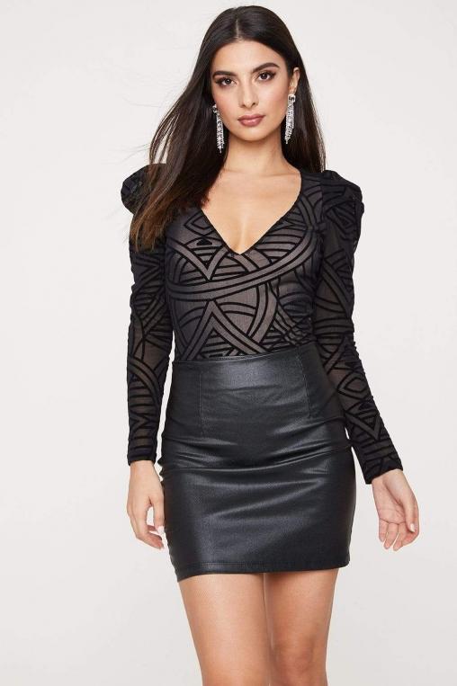 Sheer Geometric Print Puff Sleeve Bodysuit alternate img #1