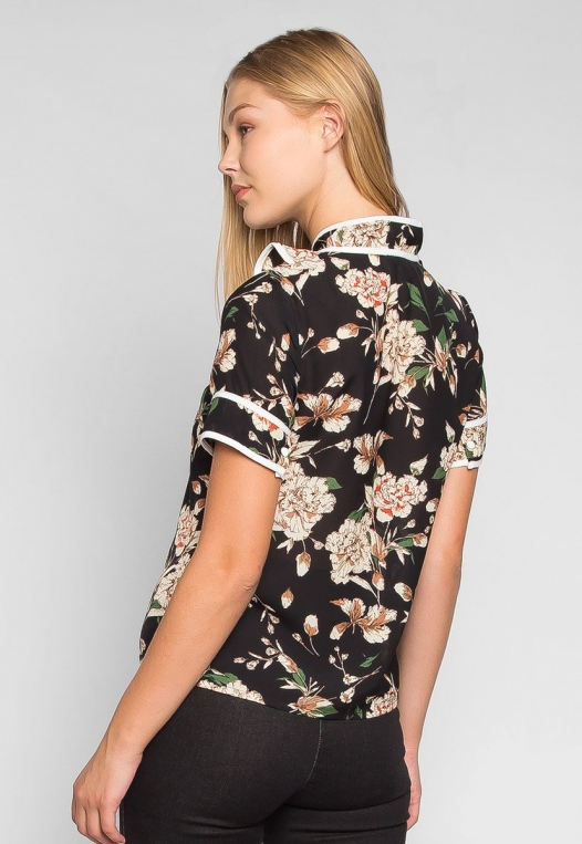 All I Need Floral Tie Neck Blouse alternate img #2