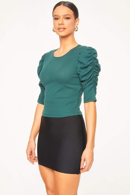Ruched Cascade Sleeve Knit Blouse alternate img #4