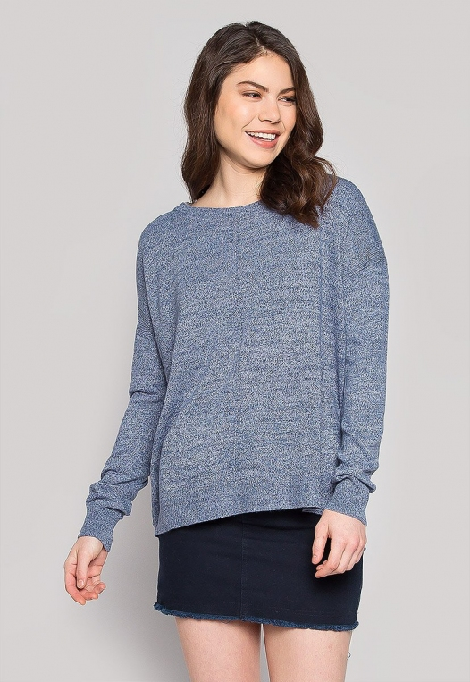 Marily Step Hem Oversized Sweater in Blue alternate img #1