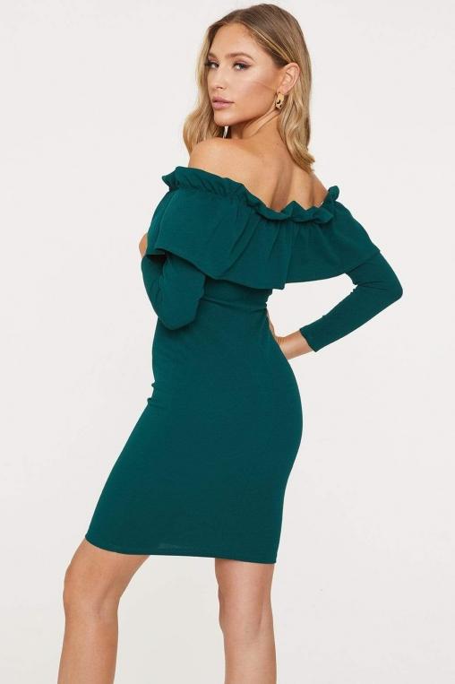 Off-The-Shoulder Flounce Long Sleeved Dress alternate img #4