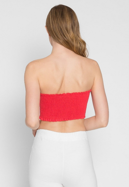 Heatwave Smock Tube Top in Coral alternate img #2