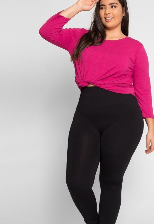 Plus Size High Waist Fleece Leggings in Black alternate img #5