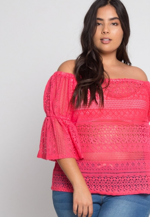 Plus Size Susie Off Shoulder Lace Top in Pink alternate img #5