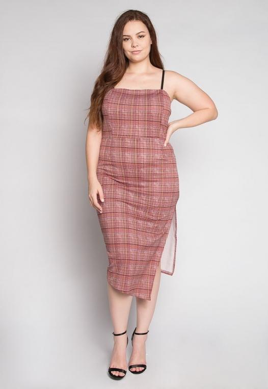 Plus Size Secrets Plaid Slit Dress in Red alternate img #4