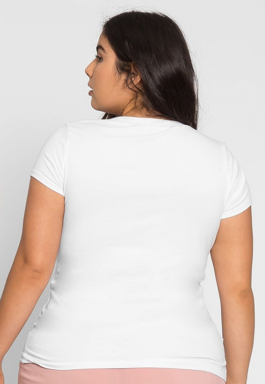 Plus Size The Basics V-Neck Tee in White alternate img #2