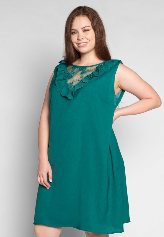 Plus Size Lavender Fields Ruffle Mini Dress in Green alternate img #1