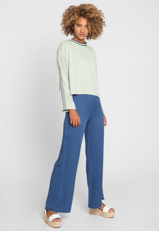 For You Checkboard Trim Knit Top in Mint alternate img #6