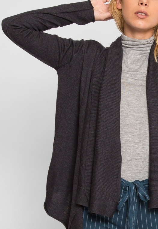 Waterfall Open Front Cardigan in Charcoal alternate img #6
