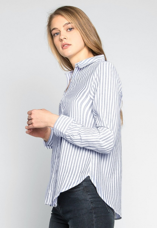 Bosslady Striped Shirt in Navy alternate img #3
