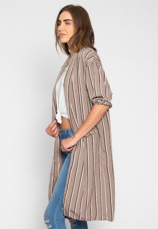 Rumors Longline Stripe Kimono in Gray alternate img #3