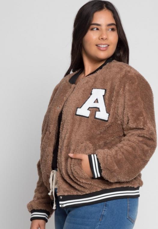 Plus Size Letterman Teddy Varsity Jacket in Brown alternate img #5