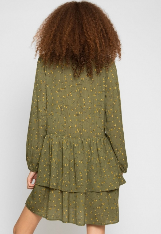 Pine Tiered Floral Dress in Olive alternate img #3