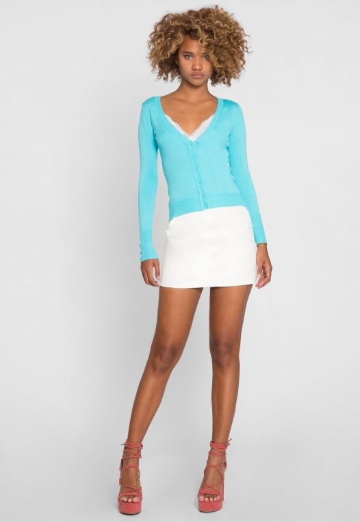 Water Lily V-Neck Cardigan in Aqua alternate img #5
