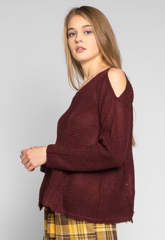 Girls Like You Pullover Sweater in Burgundy alternate img #1