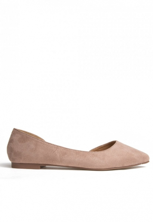 Vivian Pointed Flats in Taupe alternate img #1