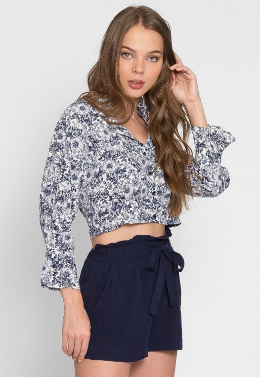 Outcast Floral Crop Button Up Shirt in Navy alternate img #6