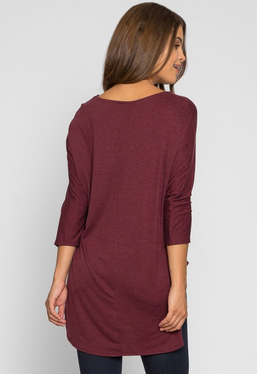 Wake Up Knit Top in Burgundy alternate img #2