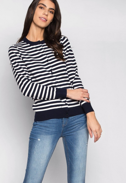 Black & White Thin Stripe Button Up Cardigan alternate img #5