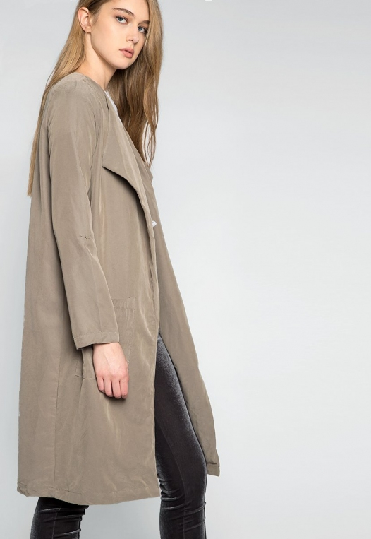 Almost Famous Roll Tab Lapel Coat in Sage alternate img #5