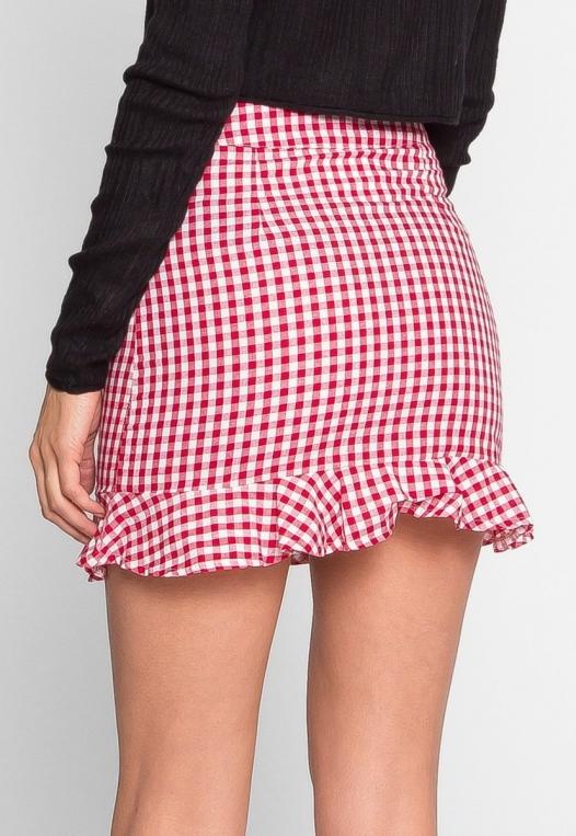 Delphine Plaid Skirt in Red alternate img #4