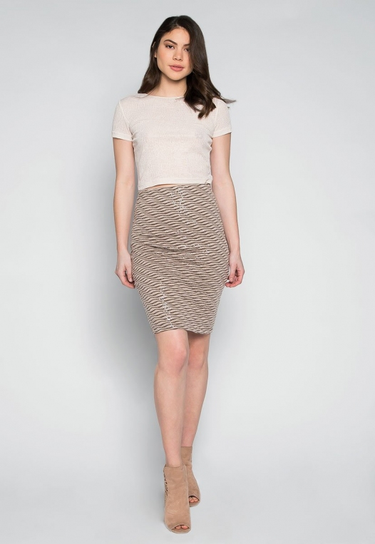Ocean Waves Sequin Fitted Skirt in Brown alternate img #4
