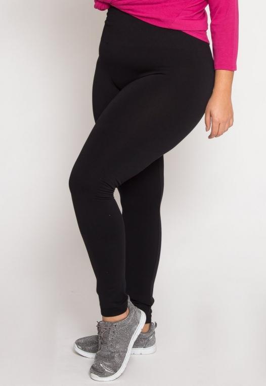Plus Size High Waist Fleece Leggings in Black alternate img #3