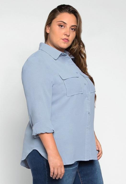 Plus Size Erin Flap Pockets Shirt alternate img #3