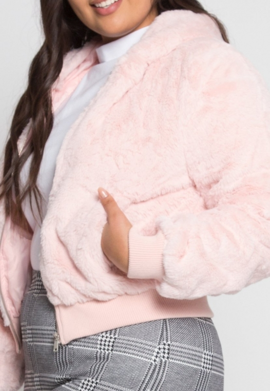 Plus Size Aspen Plush Crop Bomber Jacket alternate img #6