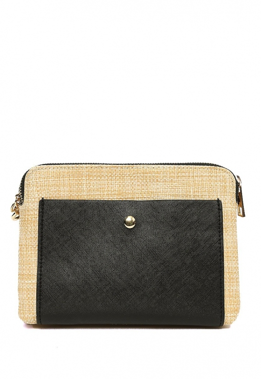 Double Zip Straw Crossbody Bag in Black alternate img #1