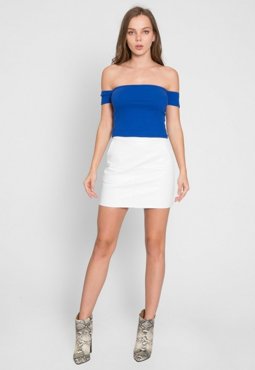 One More Time Off Shoulder Top in Blue alternate img #5