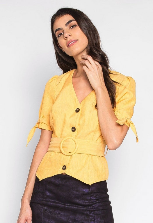 Forever Me Button Up Belted Blouse in Yellow alternate img #3