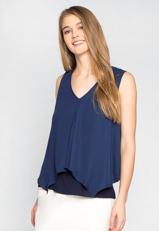 Stay True Layered Loose Fit Blouse in Navy alternate img #1
