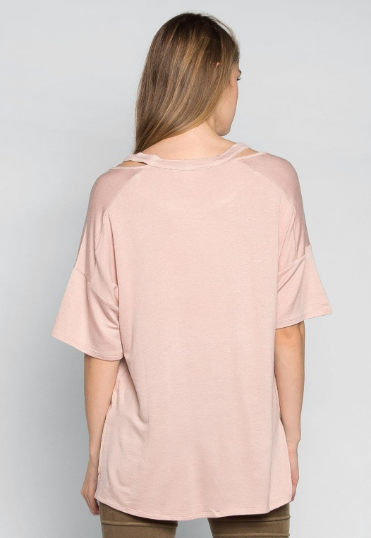 Happy Day Cut Out Knit Top in Peach alternate img #2