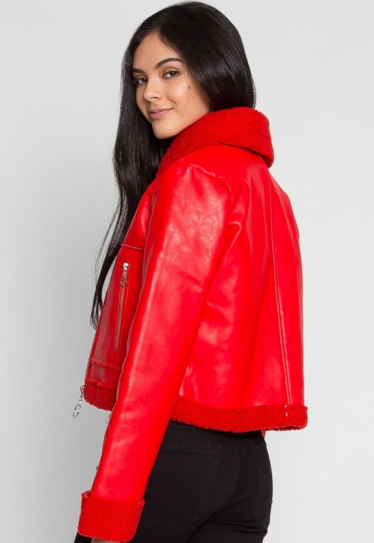 All Stars Luxe Bomber Jacket in Red alternate img #4