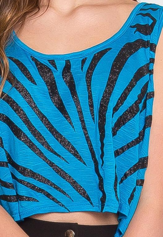Animal Print Crop Top in Blue alternate img #6