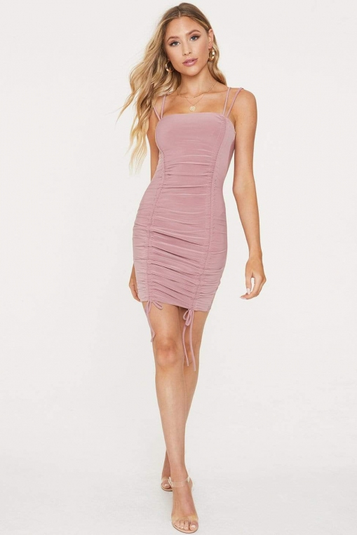 Ruched Tie Mini Dress alternate img #3