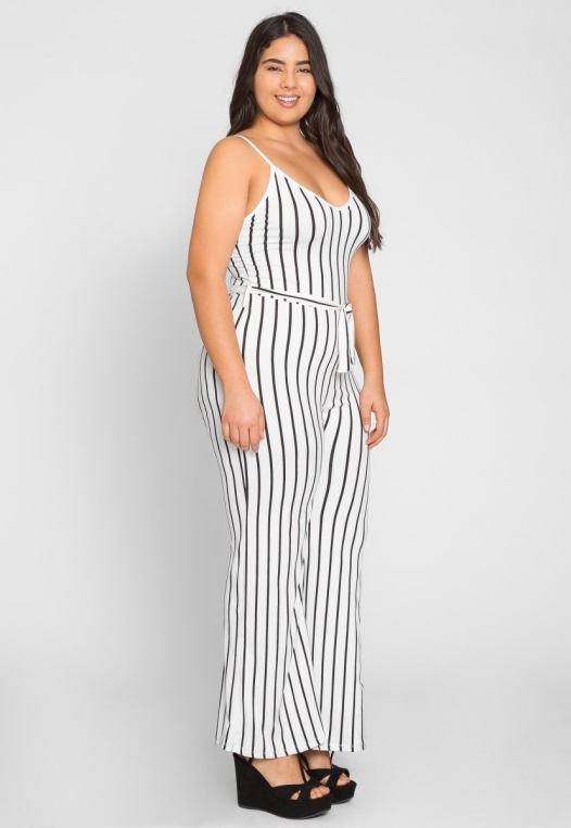 Plus Size Dazzling Stripe Jumpsuit in White alternate img #2